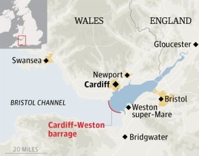 Severn tidal barrage map